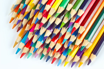 Set of multicolored pencils for art on a white background