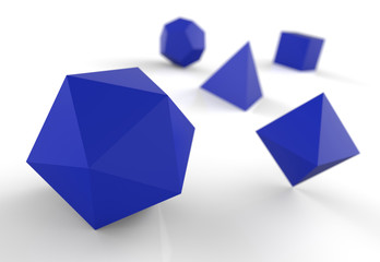 Platonische Körper in 3D - Edel Blau 2