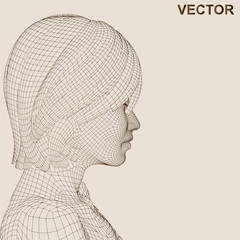 Vector conceptual wireframe human female head isolated