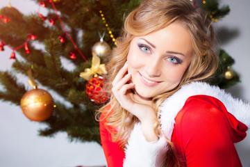 Girl with christmas pine