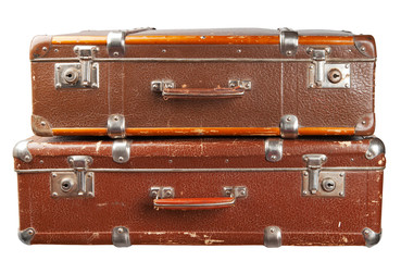 SONY Two vintage suitcase isolated. Clipping path included.
