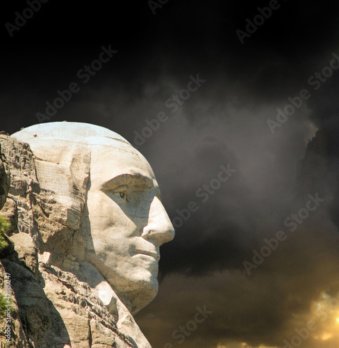 Fototapete Mount Rushmore National Memorial with dramatic sky - USA