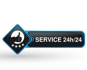 service 24 sur 24 sur bouton web carré design bleu