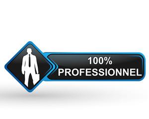 100 pour 100 professionnel sur bouton web carré design bleu