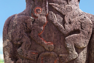 Bird carvings on a moai in Easter Island