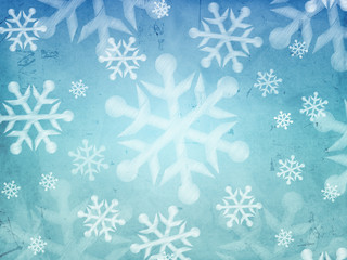 abstract blue background with snowflakes