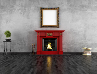vintage room with fireplace