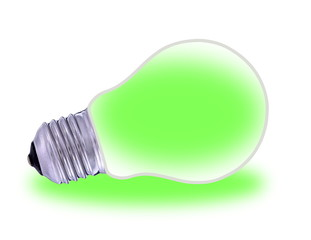 Traditional  light bulb and renewable energy