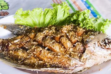 Deep fried gourami fish