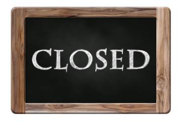 closed word on blackboard