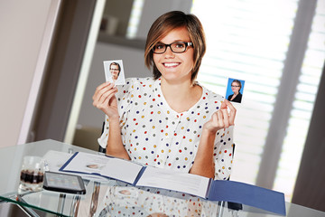 young lady preparing documents for application