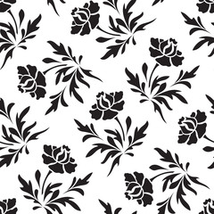 Fototapeten Blumen weiß - schwarz Black and white seamless floral pattern