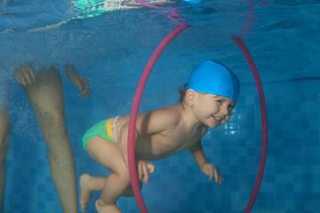 Toddler  dive in the hoop Wall mural