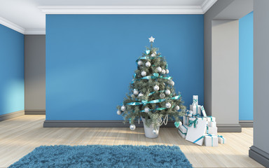 Christmas Gifts In A Blue Room