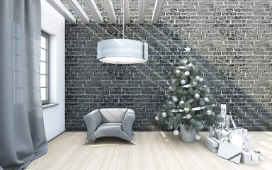 Christmas Tree On A Grey Brick Wall