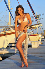 Pretty latin swimsuit fashion model posing sexy