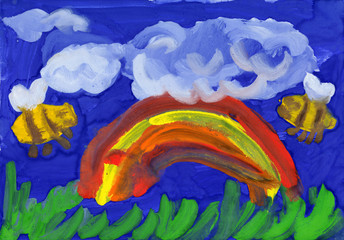 Rainbow and bees. children's drawing