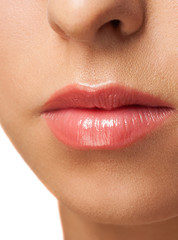 Woman lips with pink  lipstick