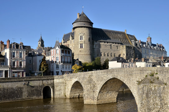 The river Mayenne at Laval in France