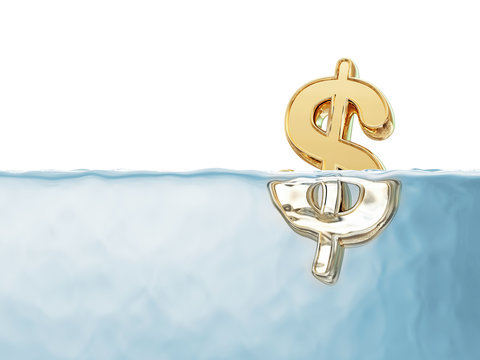 Golden Dollar Sign in Water isolated on white background