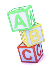 Letter blocks ABC stacked high