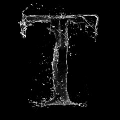 Water splashes letter isolated on black background