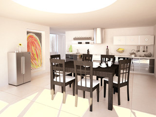 Modern Kitchen Interior in 3D