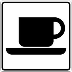 Papier Peint - Schild weiß - Cafe