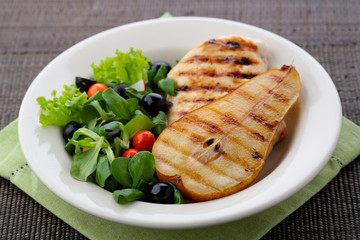 grilled chicken and pear