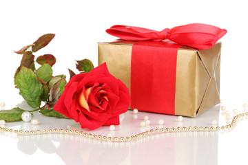 Beautiful red rose with wonderful gift in gold box isolated