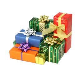 Christmas gifts boxes isolated on white background
