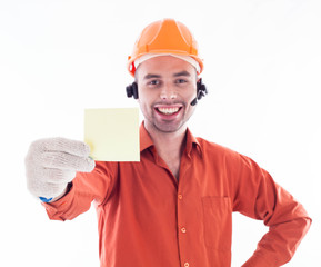 Builder holding a business card