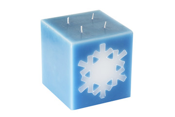 Blue cubic candle wax