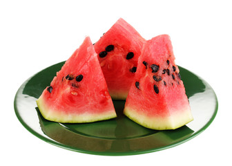 Sweet watermelon slices on green plate isolated on white