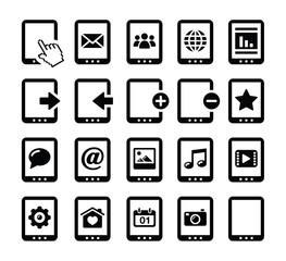 Tablet balck icons set with reflections