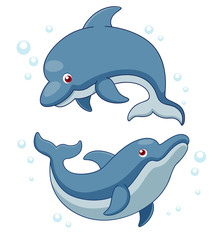 Illustration of Cartoon Dolphins