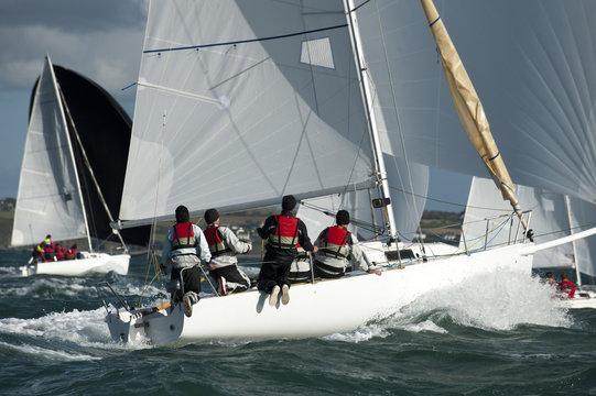 team skipper on yacht at regatta