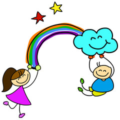 cartoon hand-drawn kids holding rainbow