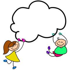 cartoon hand-drawn kids holding sky