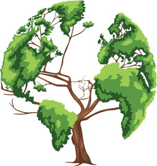 Tree shaped world map vector