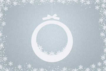 Blue/grey christmas background with evening ball and copy space