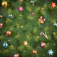 Wall Mural - Christmas fir tree texture with baubles. Vector illustration.