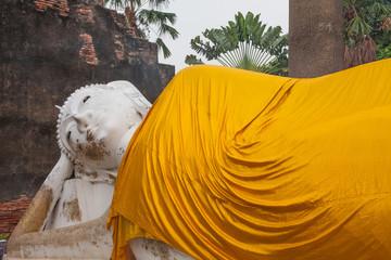 ancient buddha statue in yai chai mongkol temple