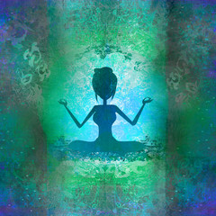 Yoga girl in lotus position - abstract background