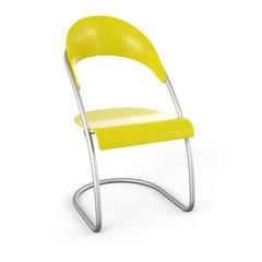 3D Stuhl vor weissem Hintergrund - Gelb