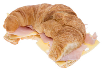 Croissant with Ham and Cheese on white