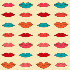 Stylish pattern with color lips. Vector illustration