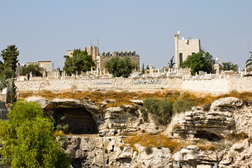 The ancient Muslim cemetery near the walls of ancient Jerusalem