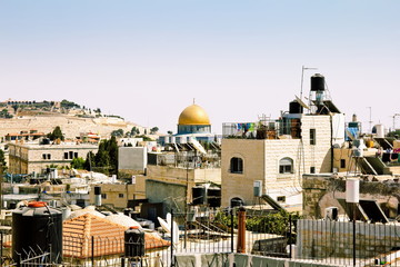 View from the walls of ancient Jerusalem rooftops
