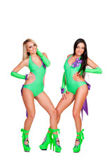 two alluring smiley go-go dancers